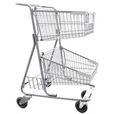 Double Basket Convenience Metal Wire Shopping Cart With Rear Basket & Light Gray Handle, Seat, & Bumpers