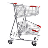 Double Basket Convenience Metal Wire Shopping Cart With Rear Basket & Red Handle, Seat, & Bumpers