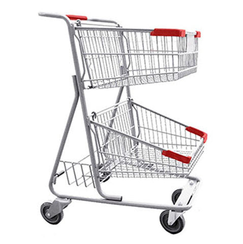 CC-20 Double Basket Convenience Metal Wire Shopping Cart 5,200 cu. in.
