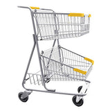 Double Basket Convenience Metal Wire Shopping Cart With Rear Basket & Yellow Handle, Seat, & Bumpers