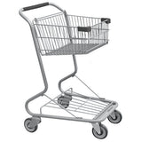 Single Basket Convenience Metal Wire Shopping Cart With Black Handle, Seat, & Bumpers 5,200 cu. in.
