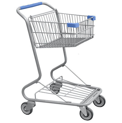 Single Basket Convenience Metal Wire Shopping Cart With Blue Handle, Seat, & Bumpers 5,200 cu. in.