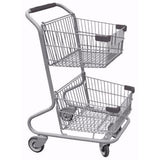 Double Basket Convenience Metal Wire Shopping Cart With Dark Gray Handle, Seat, & Bumpers 5,200 cu. in.