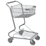 Single Basket Convenience Metal Wire Shopping Cart With Dark Gray Handle, Seat, & Bumpers 5,200 cu. in.