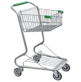 Single Basket Convenience Metal Wire Shopping Cart With Green Handle, Seat, & Bumpers 5,200 cu. in.