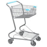 Single Basket Convenience Metal Wire Shopping Cart With Light Blue Handle, Seat, & Bumpers 5,200 cu. in.