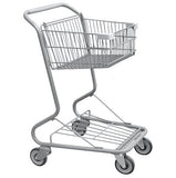 Single Basket Convenience Metal Wire Shopping Cart With Light Gray Handle, Seat, & Bumpers 5,200 cu. in.