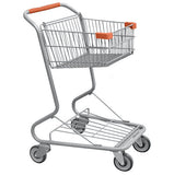 Single Basket Convenience Metal Wire Shopping Cart With Orange Handle, Seat, & Bumpers 5,200 cu. in.