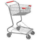 Single Basket Convenience Metal Wire Shopping Cart With Red Handle, Seat, & Bumpers 5,200 cu. in.