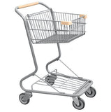 Single Basket Convenience Metal Wire Shopping Cart With Tan Handle, Seat, & Bumpers 5,200 cu. in.