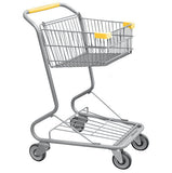 Single Basket Convenience Metal Wire Shopping Cart With Yellow Handle, Seat, & Bumpers 5,200 cu. in.