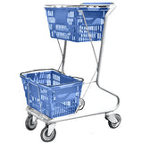 Blue Plastic Double Basket Express Convenience Shopping Cart