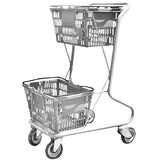 Dark Gray Plastic Double Basket Express Convenience Shopping Cart