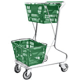 Green Plastic Double Basket Express Convenience Shopping Cart