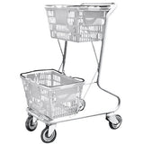 Light Gray Plastic Double Basket Express Convenience Shopping Cart