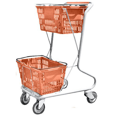 Orange Plastic Double Basket Express Convenience Shopping Cart