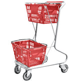 Red Plastic Double Basket Express Convenience Shopping Cart