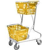 Yellow Plastic Double Basket Express Convenience Shopping Cart