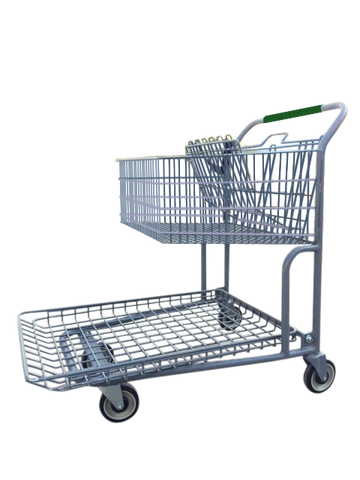 Garden Center Cart With Basket, Child Seat, & Green Handle