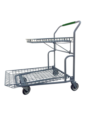 Garden Center Cart With Flip-Up Tray & Green Handle