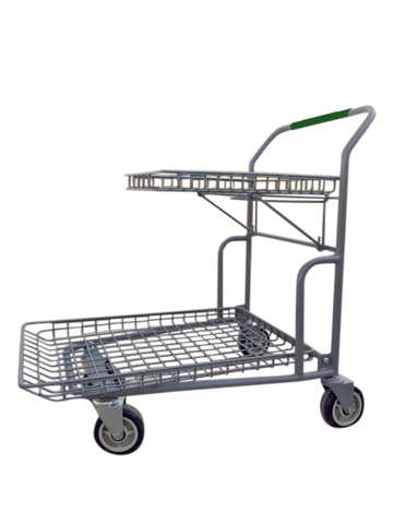 "Garden Center Cart With Flip-Up Tray, Green Handle, & Heavy Duty 6"" Casters"