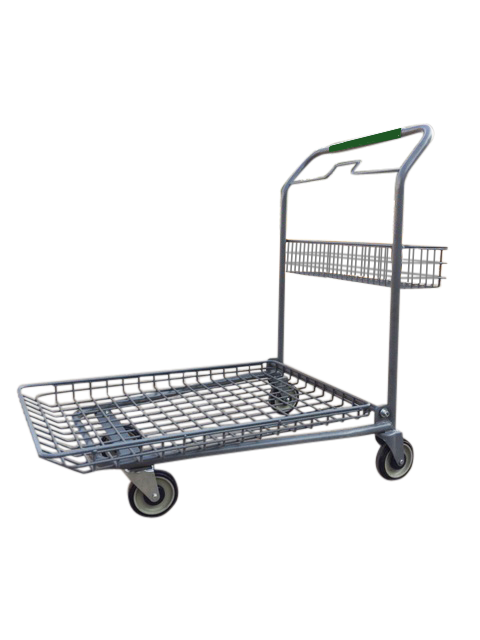 Metal Wire Garden Center Cart With Green Handle & Rear Basket