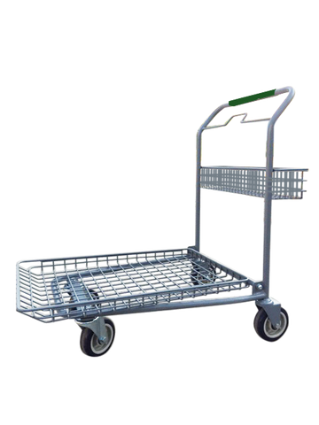 "Garden Center Cart With Rear Basket, Green Handle, & Heavy Duty 6"" Casters"