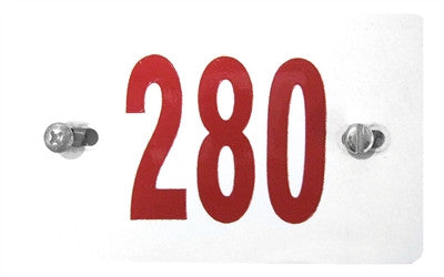 White License Plate With Red Numbers and Hardware For Shopping Carts