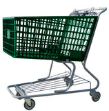 green plastic shopping cart with lower tray 17,000 cu. in.