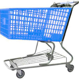 light blue plastic shopping cart with lower tray 17,000 cu. in.