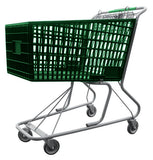 Green Plastic Shopping Cart With Anti-Theft Lower Tray