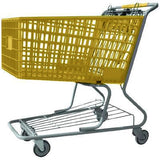yellow plastic shopping cart with lower tray 17,000 cu. in.