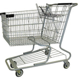 Metal Wire Shopping Cart 18,000 cu. in. With Black Handle, Seat, & Bumpers