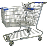 Metal Wire Shopping Cart 18,000 cu. in. With Blue Handle, Seat, & Bumpers
