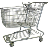 Metal Wire Shopping Cart 18,000 cu. in. With Light Gray Handle, Seat, & Bumpers