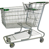 Metal Wire Shopping Cart 18,000 cu. in. With Green Handle, Seat, & Bumpers