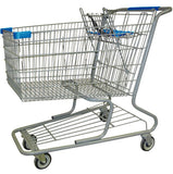 Metal Wire Shopping Cart 18,000 cu. in. With Light Blue Handle, Seat, & Bumpers