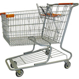 Metal Wire Shopping Cart 18,000 cu. in. With Orange Handle, Seat, & Bumpers