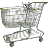 Metal Wire Shopping Cart 18,000 cu. in. With Tan Handle, Seat, & Bumpers