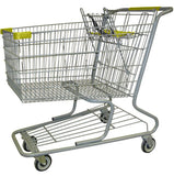 Metal Wire Shopping Cart 18,000 cu. in. With Yellow Handle, Seat, & Bumpers