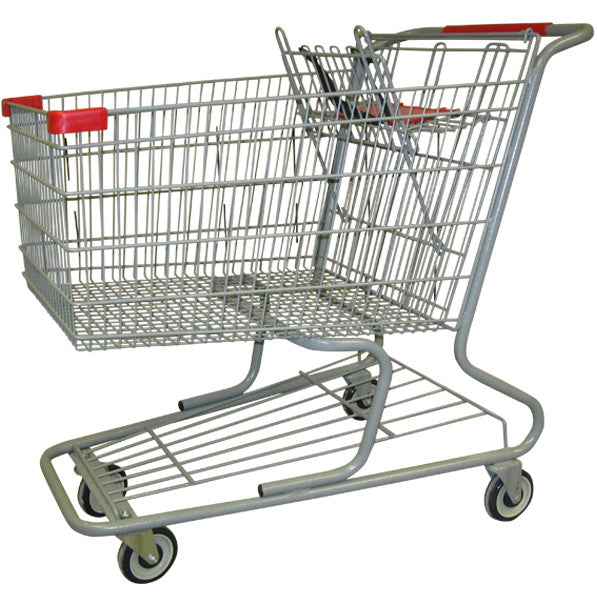 Metal Wire Shopping Cart 18,000 cu. in. With Red Handle, Seat, & Bumpers