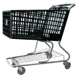 black plastic shopping cart with lower tray 17,000 cu. in.