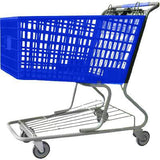blue plastic shopping cart with lower tray 17,000 cu. in.