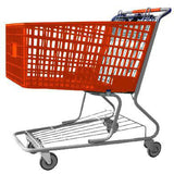 orange plastic shopping cart with lower tray 17,000 cu. in.