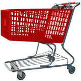 red plastic shopping cart with lower tray 17,000 cu. in.