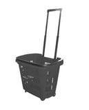 Black Plastic Rolling Hand Basket With Carrying Handle
