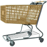 tan plastic shopping cart with lower tray 17,000 cu. in.