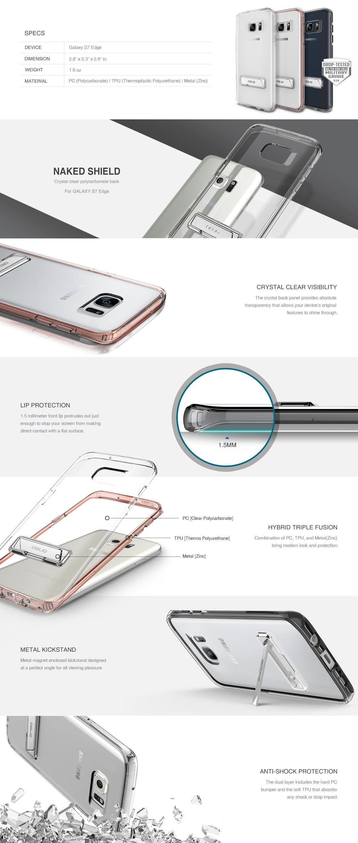 Galaxy S7 Edge Case Naked Shield Obliq Shining Crystal Clear For Xiaomi Redmi 3 Obliqs The Defends Against Drops And Scratches Highlights Phones Original Design