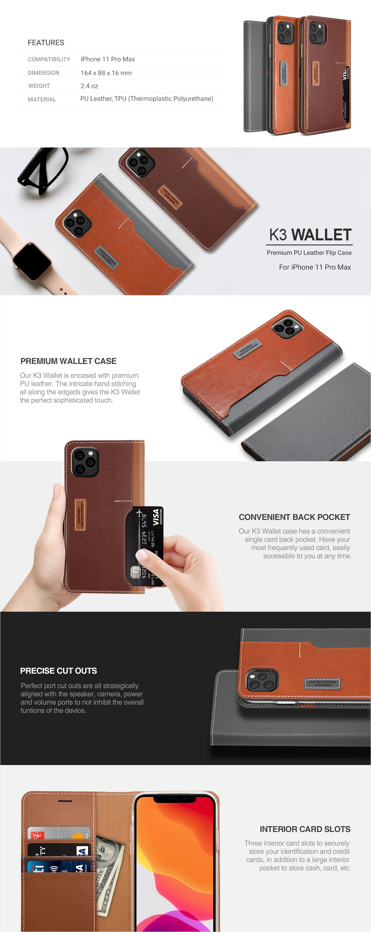 Obliq iPhone 11 Pro Max Case K3 Wallet