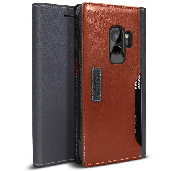 OBLIQ Galaxy S9 Case K3 Wallet Black Gray Brown